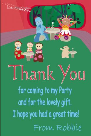 Personalised In the Night Garden Thank You Card